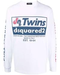 Camiseta de manga larga estampada blanca de DSQUARED2