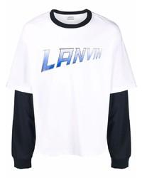 Camiseta de manga larga estampada blanca de Lanvin