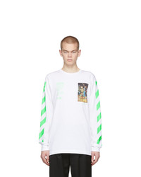 Camiseta de manga larga estampada blanca de Off-White