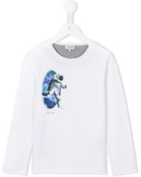 Camiseta de manga larga estampada blanca de Paul Smith