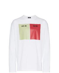 Camiseta de manga larga estampada blanca de Raf Simons