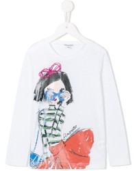 Camiseta de manga larga estampada blanca de Simonetta