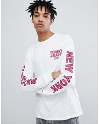 Camiseta de manga larga estampada blanca de Tommy Jeans