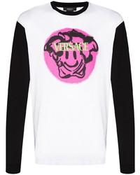 Camiseta de manga larga estampada blanca de Versace