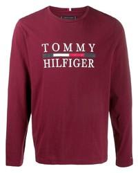 Camiseta de manga larga estampada burdeos de Tommy Hilfiger