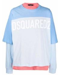 Camiseta de manga larga estampada celeste de DSQUARED2