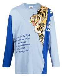 Camiseta de manga larga estampada celeste de Kenzo