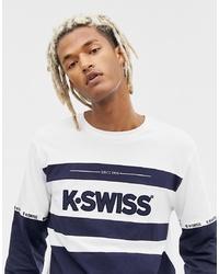 Camiseta de manga larga estampada en azul marino y blanco de K-Swiss