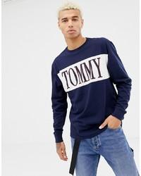 Camiseta de manga larga estampada en azul marino y blanco de Tommy Jeans