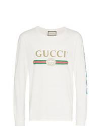 Camiseta de manga larga estampada en beige de Gucci