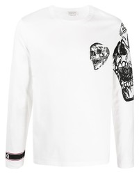Camiseta de manga larga estampada en blanco y negro de Alexander McQueen