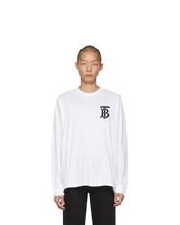 Camiseta de manga larga estampada en blanco y negro de Burberry