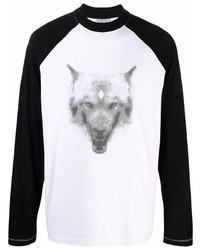 Camiseta de manga larga estampada en blanco y negro de Marcelo Burlon County of Milan