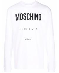 Camiseta de manga larga estampada en blanco y negro de Moschino