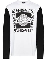 Camiseta de manga larga estampada en blanco y negro de Versace