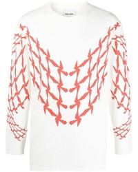 Camiseta de manga larga estampada en blanco y rojo de Henrik Vibskov