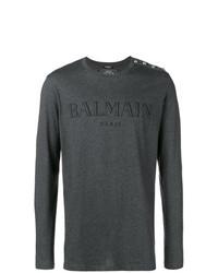 Camiseta de manga larga estampada en gris oscuro de Balmain