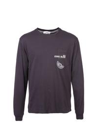 Camiseta de manga larga estampada en gris oscuro de Stone Island