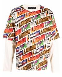 Camiseta de manga larga estampada en multicolor de Lanvin