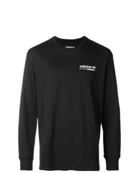 Camiseta de manga larga estampada en negro y blanco de adidas