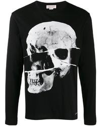 Camiseta de manga larga estampada en negro y blanco de Alexander McQueen