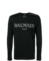 Camiseta de manga larga estampada en negro y blanco de Balmain