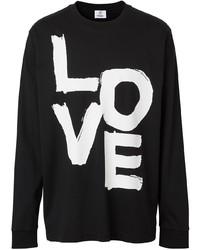 Camiseta de manga larga estampada en negro y blanco de Burberry