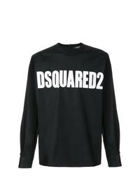 Camiseta de manga larga estampada en negro y blanco de DSQUARED2