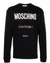 Camiseta de manga larga estampada en negro y blanco de Moschino