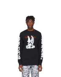 Camiseta de manga larga estampada en negro y blanco de Off-White