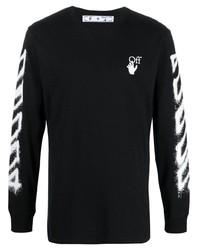 Camiseta de manga larga estampada en negro y blanco de Off-White