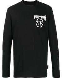 Camiseta de manga larga estampada en negro y blanco de Philipp Plein