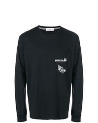 Camiseta de manga larga estampada en negro y blanco de Stone Island