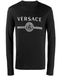 Camiseta de manga larga estampada en negro y blanco de Versace