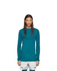 Camiseta de manga larga estampada en verde azulado de Off-White