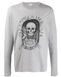 Camiseta de manga larga estampada gris de Alexander McQueen