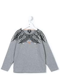 Camiseta de manga larga estampada gris de Armani Junior