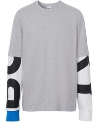Camiseta de manga larga estampada gris de Burberry