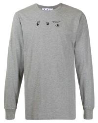 Camiseta de manga larga estampada gris de Off-White