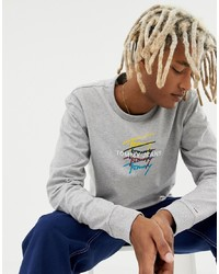 Camiseta de manga larga estampada gris de Tommy Jeans
