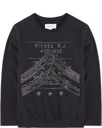 Camiseta de manga larga estampada negra