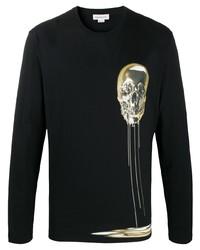 Camiseta de manga larga estampada negra de Alexander McQueen