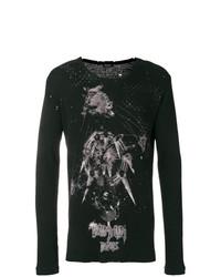 Camiseta de manga larga estampada negra de Balmain