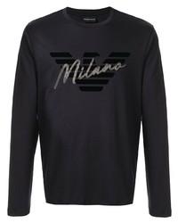 Camiseta de manga larga estampada negra de Emporio Armani