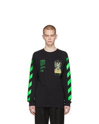 Camiseta de manga larga estampada negra de Off-White