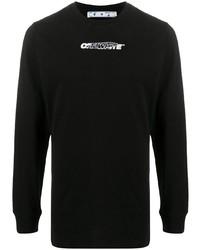 Camiseta de manga larga estampada negra de Off-White