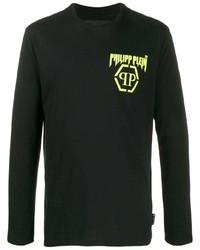 Camiseta de manga larga estampada negra de Philipp Plein