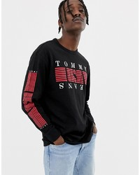 Camiseta de manga larga estampada negra de Tommy Jeans
