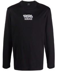 Camiseta de manga larga estampada negra de Versace