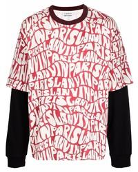 Camiseta de manga larga estampada roja de Lanvin